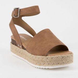 SODA Topic Sandals Espadrille Size 8.5 Tan Brown